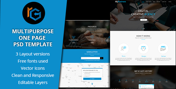 RG One Page Multipurpose PSD Template - Creative PSD Templates