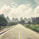 Retro stylized picture of a countryside road, China. - PhotoDune Item for Sale