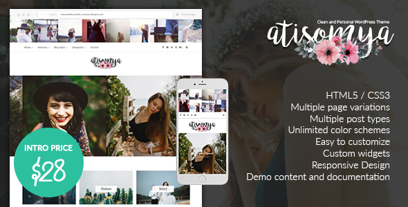 Image of Atisomya - Clean & Personal WordPress Blog Theme