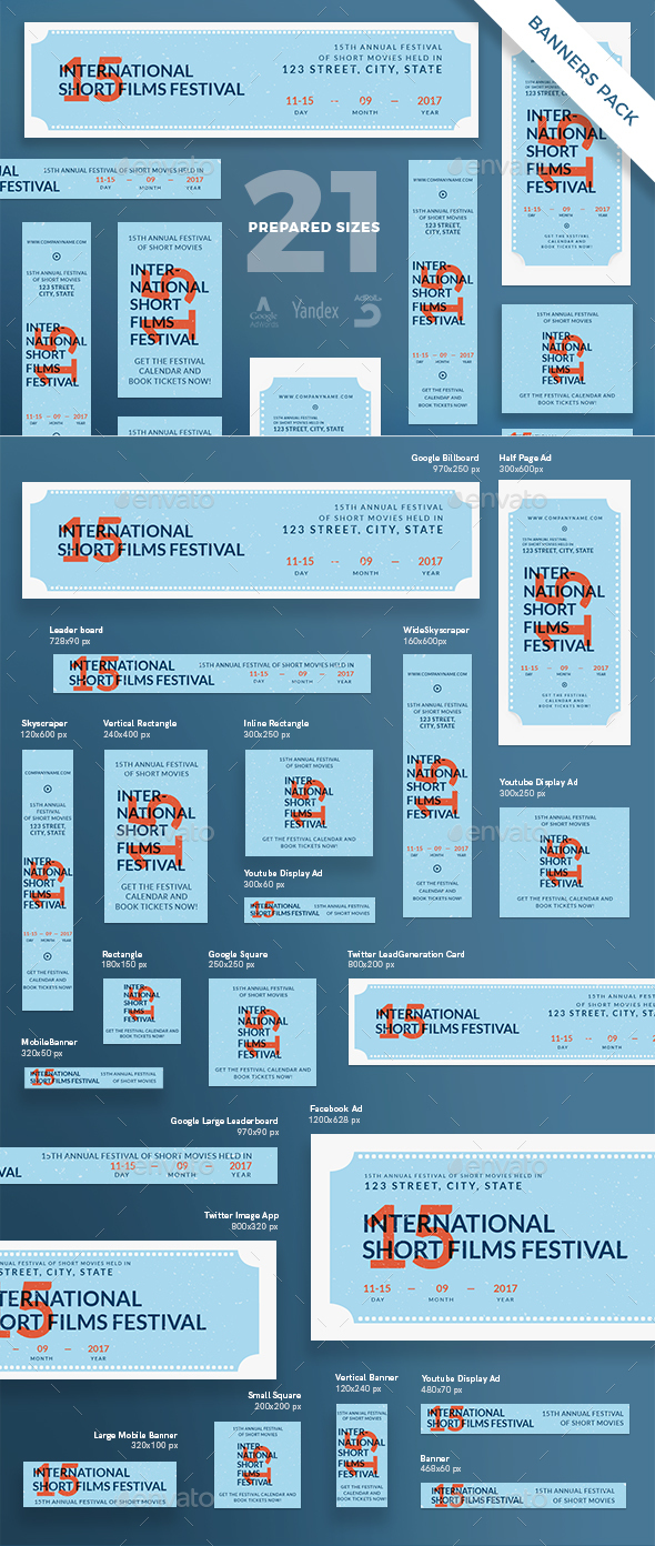 Film Festival Banner Pack - Banners & Ads Web Elements