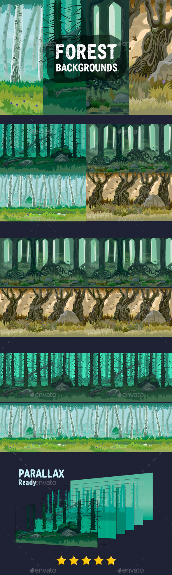 Forest Game Backgrounds - Backgrounds Game Assets