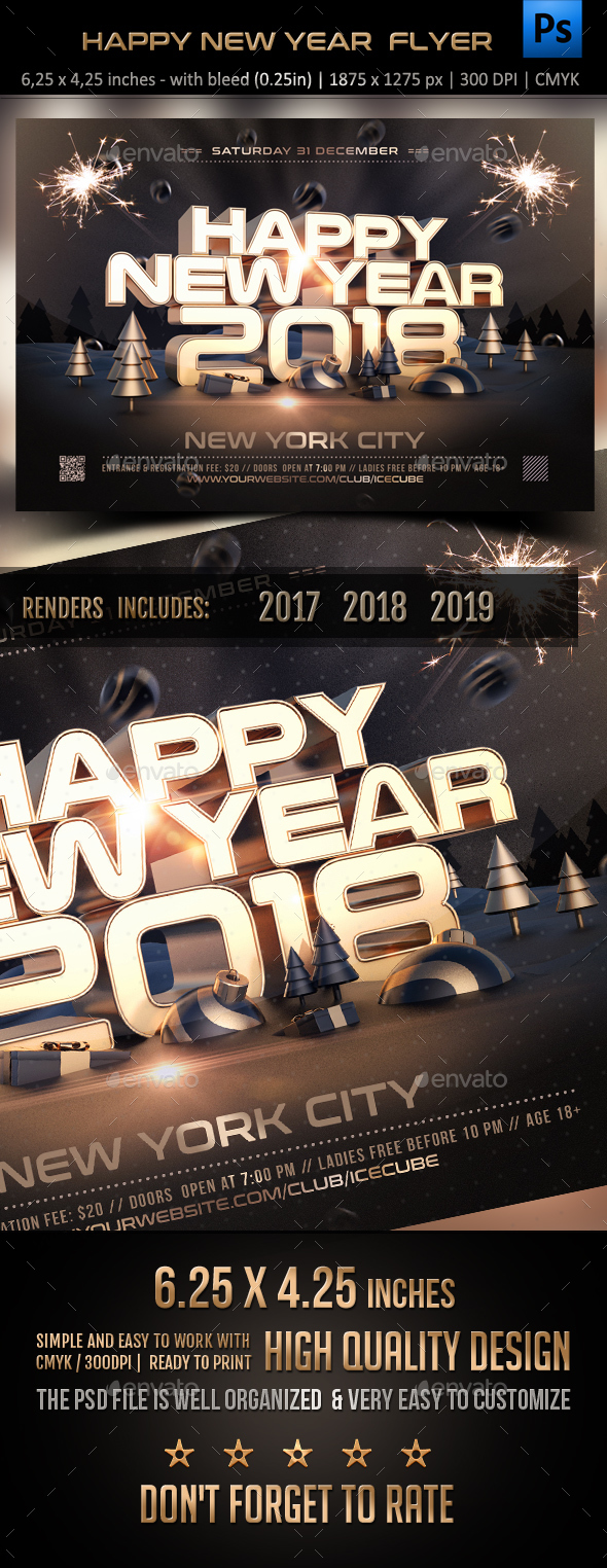 Golden New Year Flyer Template - Holidays Events
