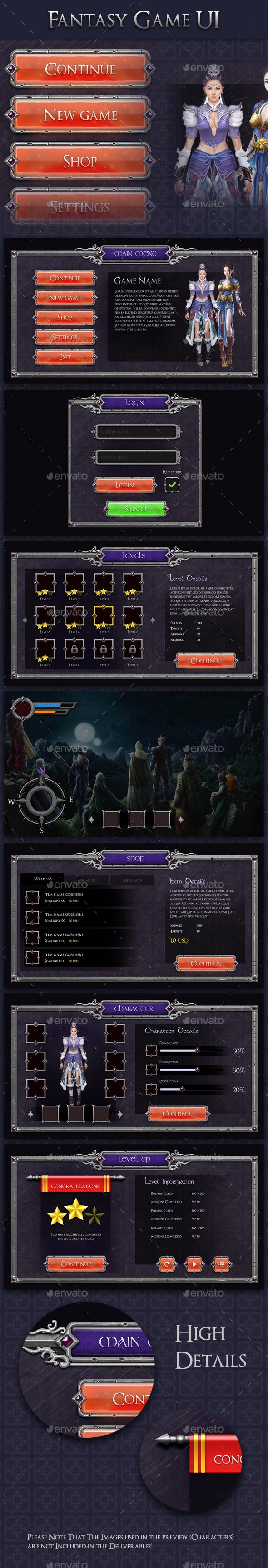GraphicRiver Fantasy Game UI MMO RPG 20811596