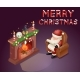 Isometric 3D Santa Claus Reading Gift List