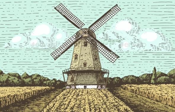 Windmill Landscape - Miscellaneous Vectors