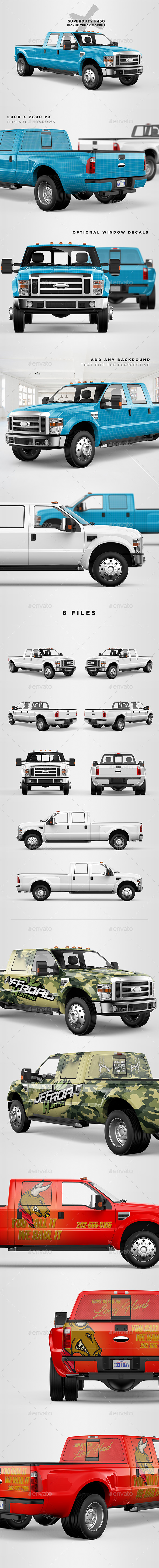 F450 Super Duty Truck Mockup - Vehicle Wraps Print