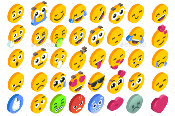 GraphicRiver Emoji Set Emoticon Reactions Social Buttons 20811709