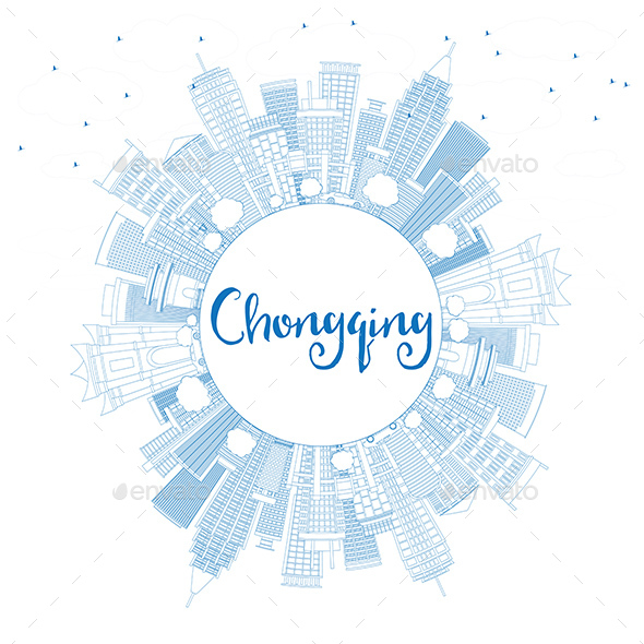 Outline Chongqing Skyline with Blue Buildings and Copy Space - Buildings Objects