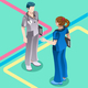 Hospital Nurse Student Talking with Doctor Vector Isometric People - GraphicRiver Item for Sale