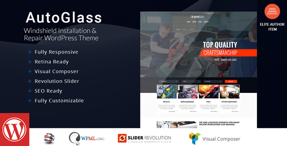 AutoGlass - Windshield Installation & Repair WordPress Theme - Business Corporate