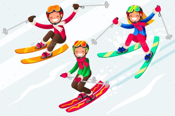skiing people cartoon characters skis in snowaurielaki