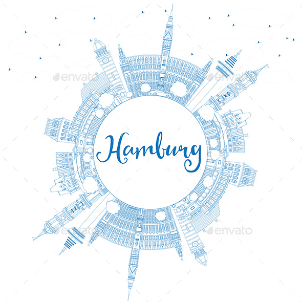 Outline Hamburg Skyline with Blue Buildings and Copy Space - Buildings Objects