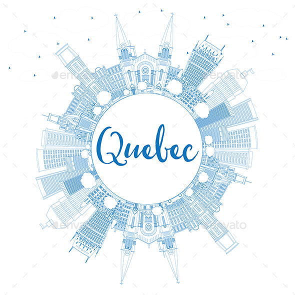 GraphicRiver Outline Quebec Skyline with Blue Buildings and Copy Space 20811824