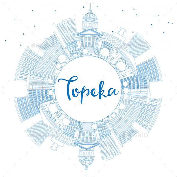 Outline Topeka Skyline with Blue Buildings and Copy Space - Buildings Objects