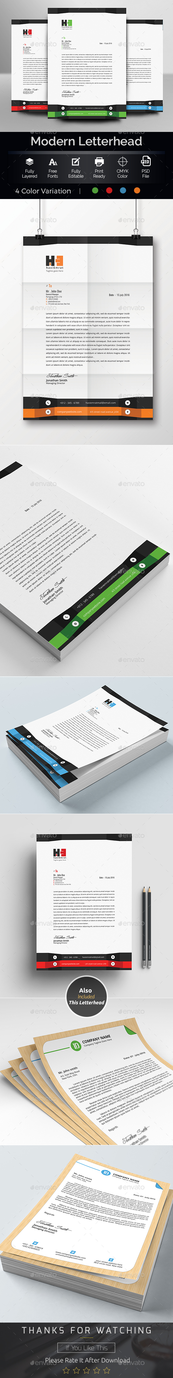 MS Word Letterhead Template - Stationery Print Templates