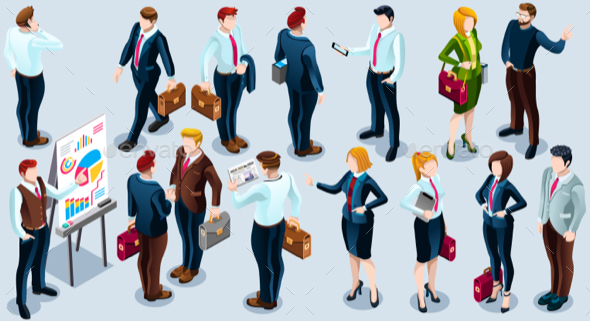 Isometric People Trendy Business 3D Icon Set Vector Illustration - People Characters
