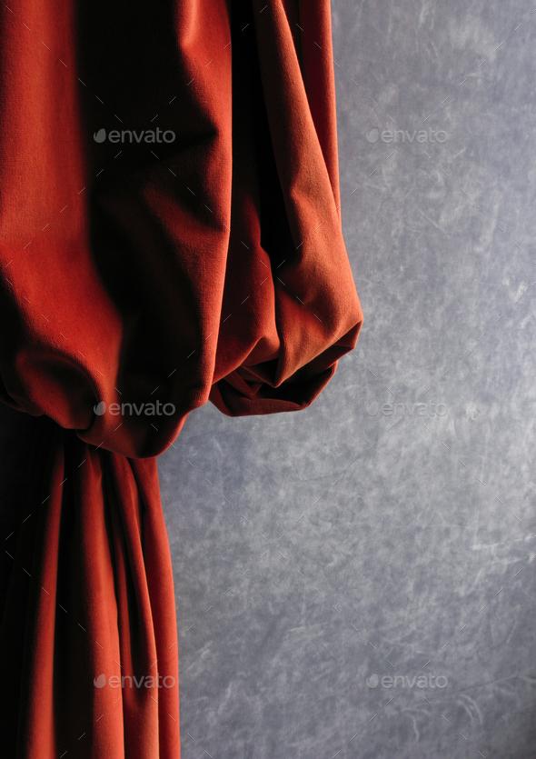 Red velvet curtain - Stock Photo - Images