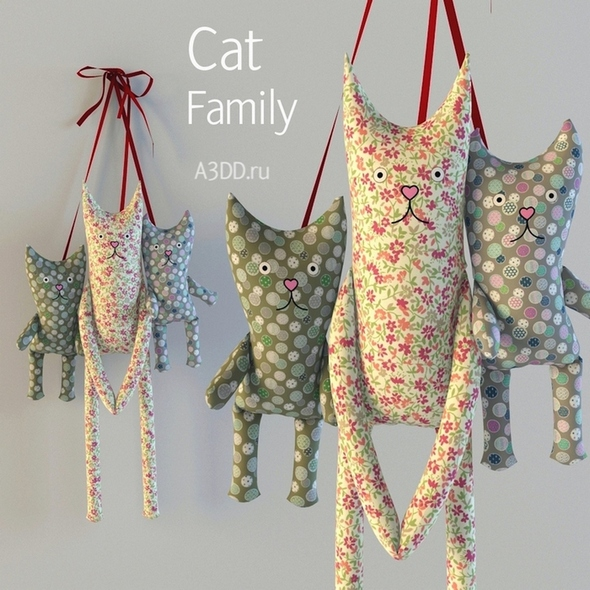 3DOcean Textile toys cats hanging 20812123
