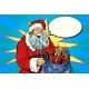 Joyful Santa Claus with Bag of Christmas Gifts
