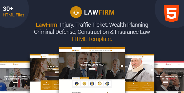 Law Firm - Lawyer, Law Office, Injury Law, Defense Law, Insurance Law html5 template
