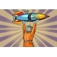 Astronaut Holding a Space Rocket - GraphicRiver Item for Sale