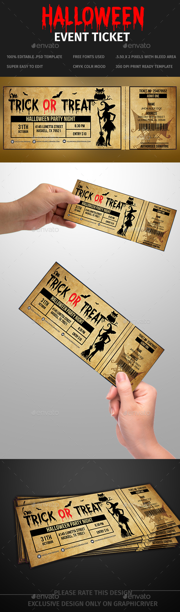 Halloween Event Ticket Template - Banners & Ads Web Elements