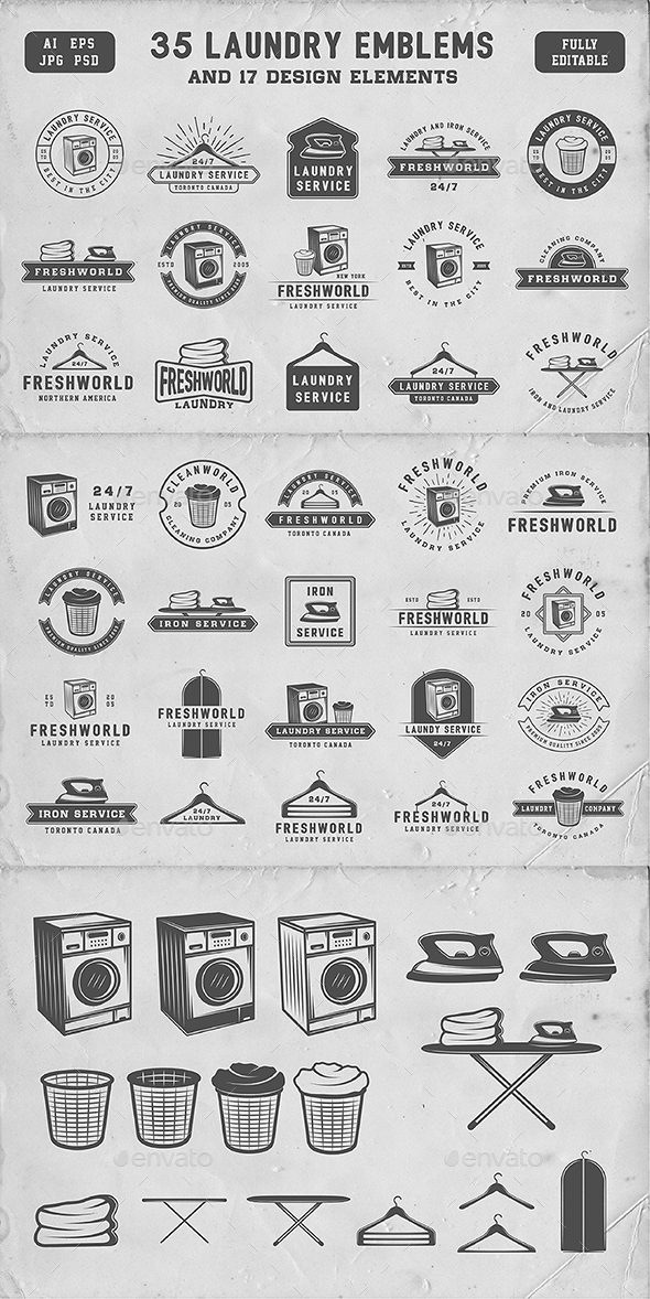 GraphicRiver Vintage Laundry Emblems 20812408