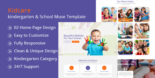 Kidcare-kindergarten & School Muse Template            nulled