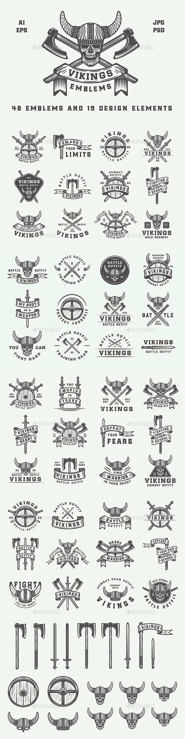 GraphicRiver Vintage Vikings Emblems 20812420