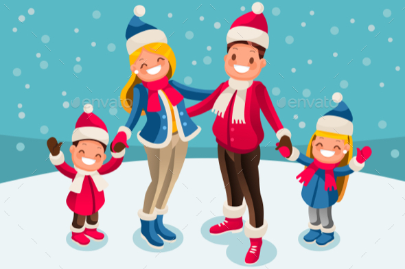 GraphicRiver Christmas 2018 Family Wishes Illustration 20812525