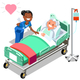 Nurse and Female Elderly Patient in Bed