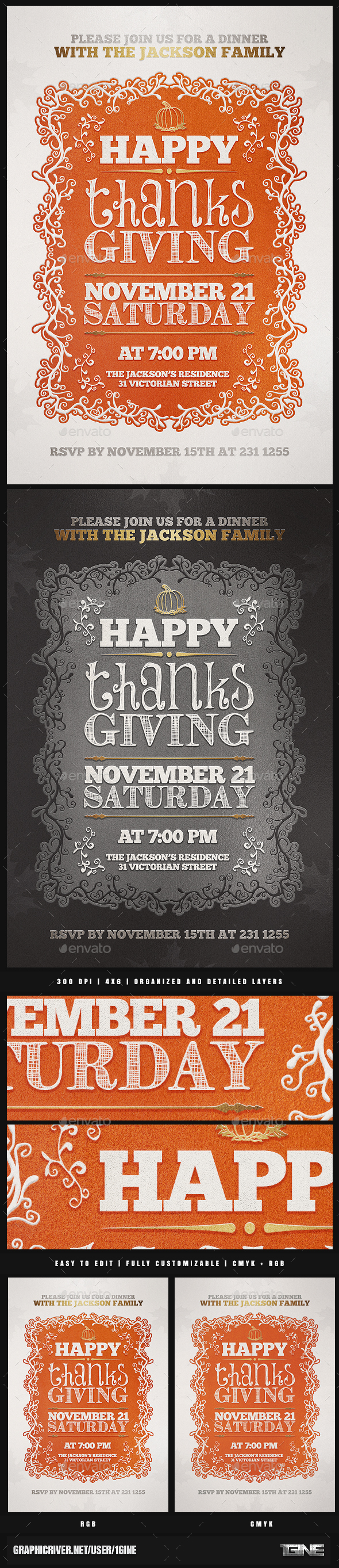 Thanksgiving Invitation Flyer Template - Holidays Events