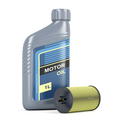 Bottle of motor oil and oil filter cartridge - PhotoDune Item for Sale