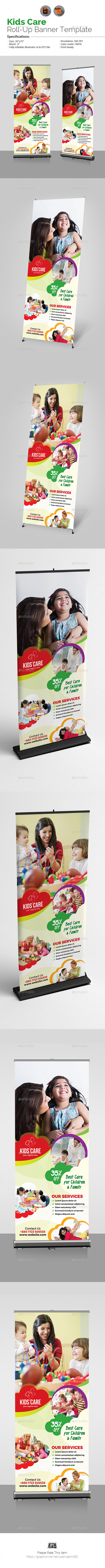 Child Care Roll-Up Banner Template - Signage Print Templates