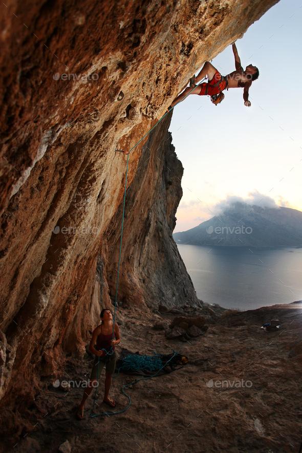 Rock climber at sunset. Kalymnos Island, Greece - Stock Photo - Images