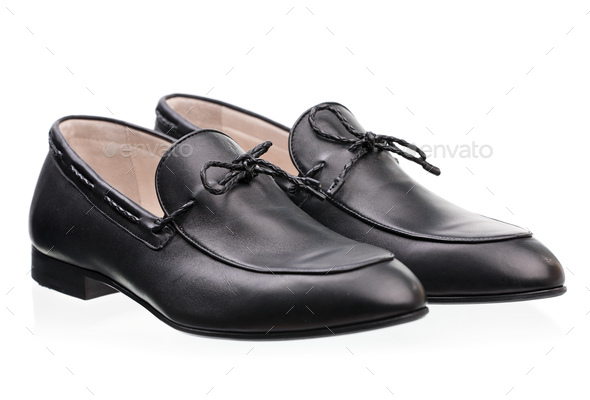 Pair of elegant male shoes over white background - Stock Photo - Images