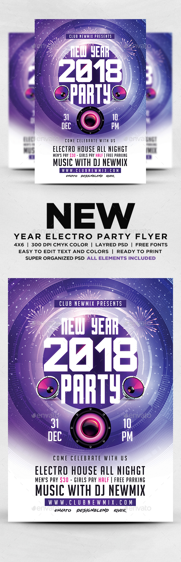 GraphicRiver New Year 2018 Electro Party Flyer 20812847