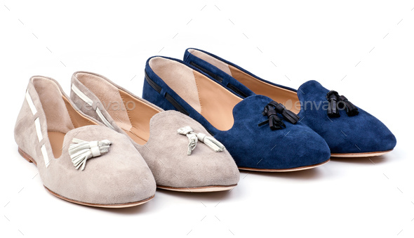 Two pairs of women suede shoes over white - Stock Photo - Images
