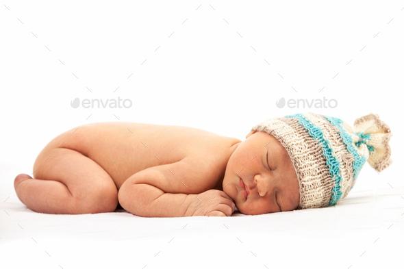 Newborn baby boy asleep - Stock Photo - Images