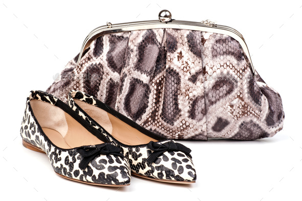 Pair of women summer shoes and clutch over white - Stock Photo - Images