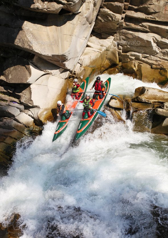 Rafting in rough waters - Stock Photo - Images