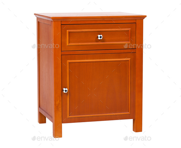 Children wooden nightstand isolated, with clipping path - Stock Photo - Images