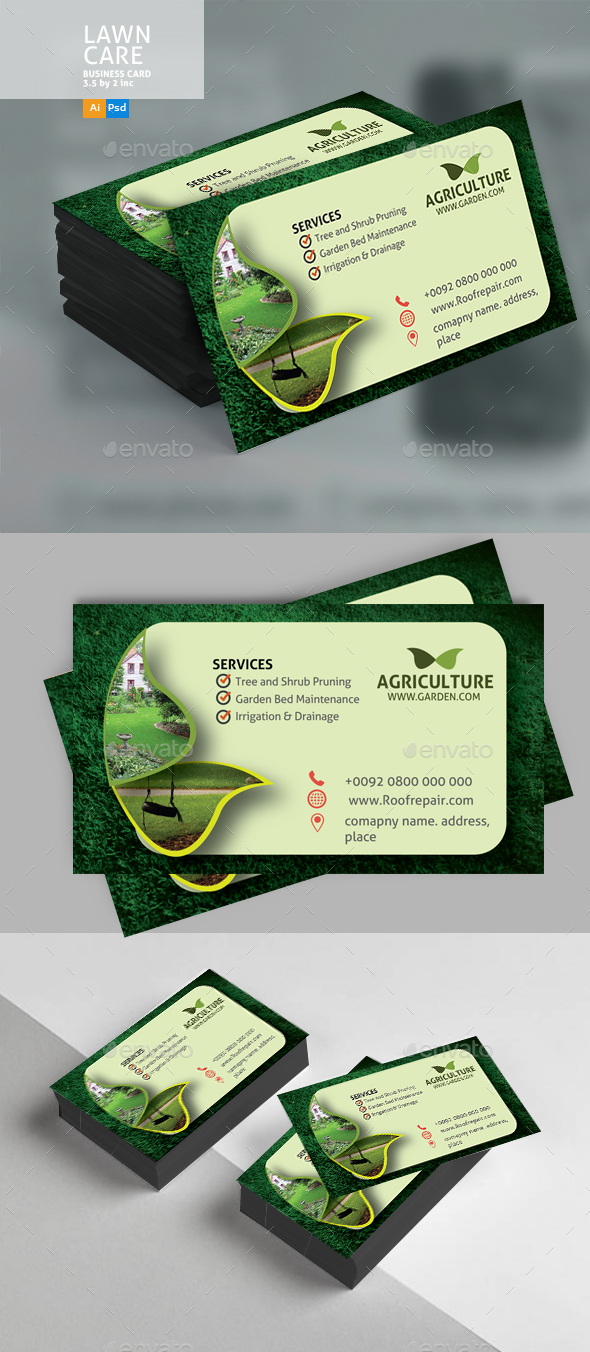 GraphicRiver Lawn Care Business Card 20813592