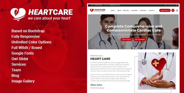 Heart Care - Heart and Medical Care HTML Template