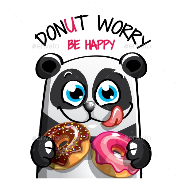 GraphicRiver Vector Illustration of Cartoon Panda with Donuts 20813654