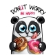 Vector Illustration of Cartoon Panda with Donuts