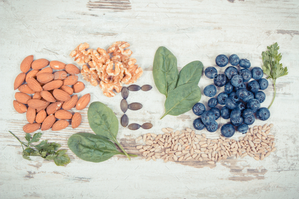 Vintage photo, Natural ingredients as source vitamin E, minerals and dietary fiber - Stock Photo - Images