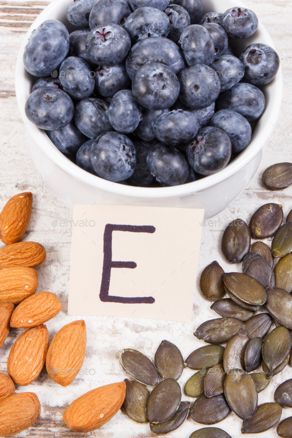 Products and ingredients containing vitamin E and dietary fiber, healthy nutrition concept - Stock Photo - Images