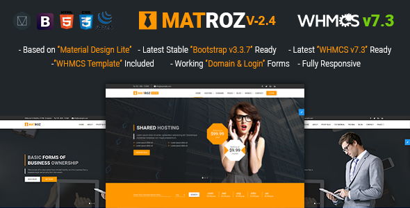 MatRoz | Web Hosting with WHMCS & Material Design Technology Business Template - Hosting Technology