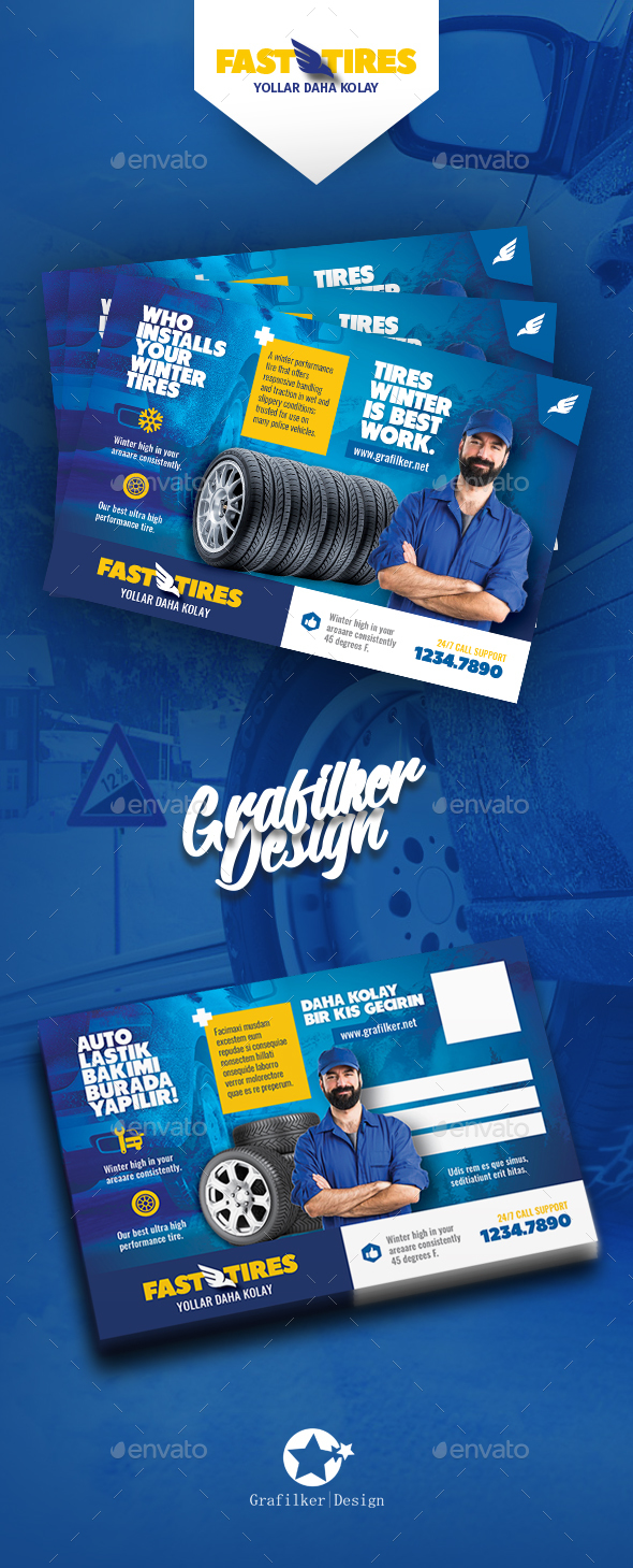 Auto Tires Postcard Templates - Cards & Invites Print Templates